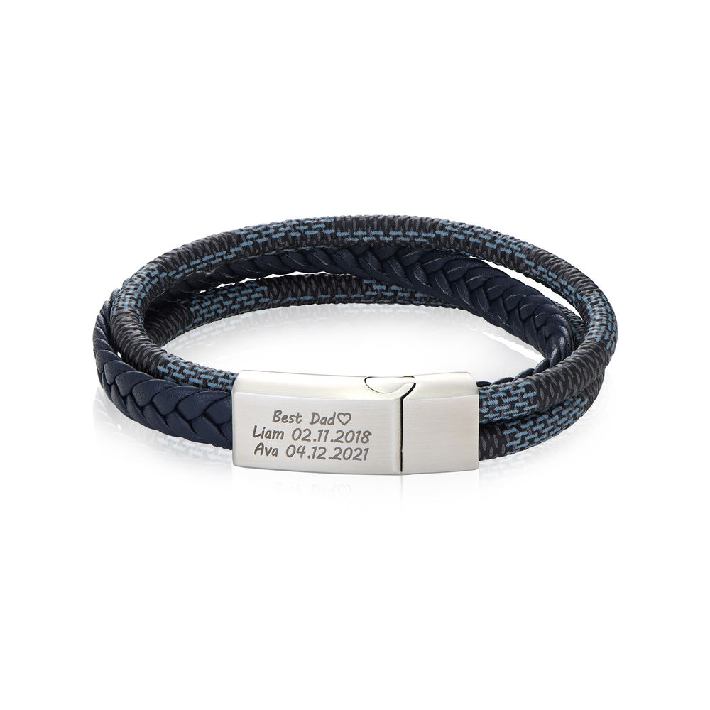 Men's 3-Layer Blue & Grey Braided Leather Bracelet With Stainless Steel