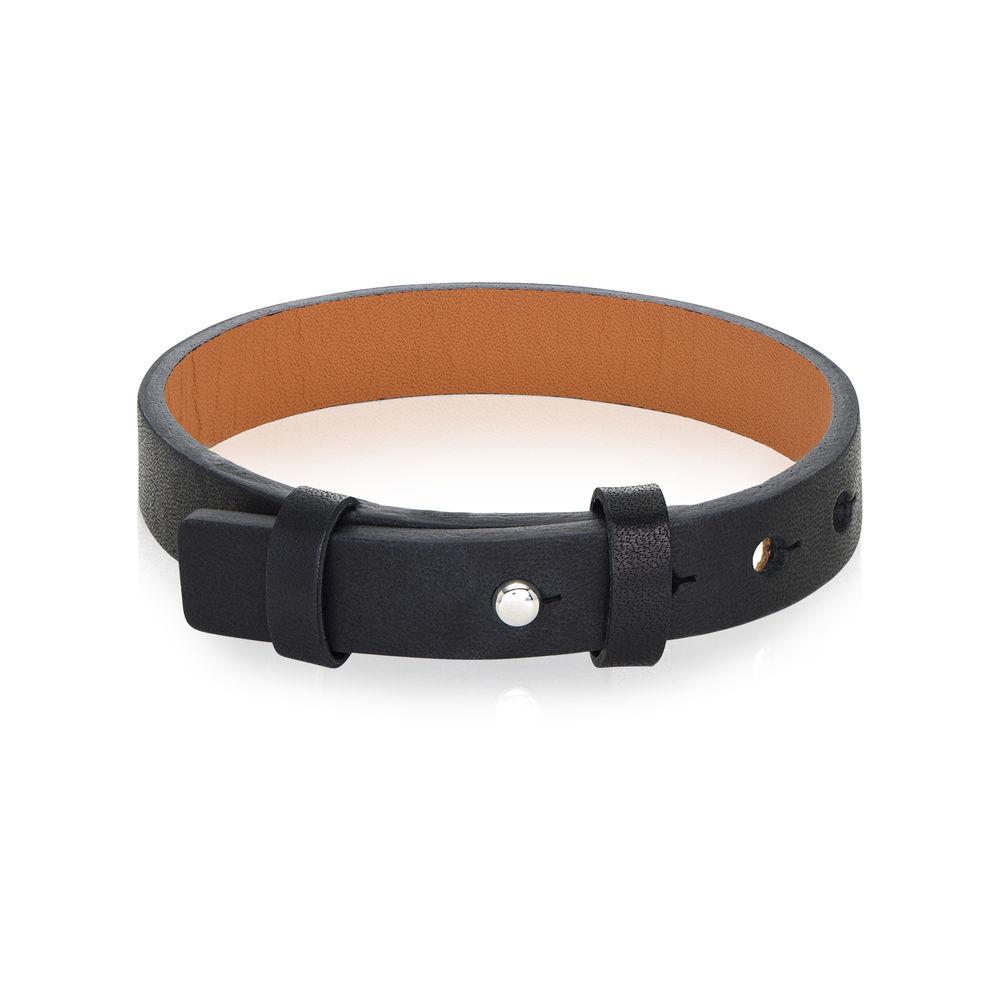 Men's Total Black Leather Name Bracelet - 1