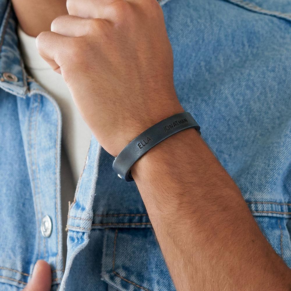 Men's Total Black Leather Name Bracelet - 2