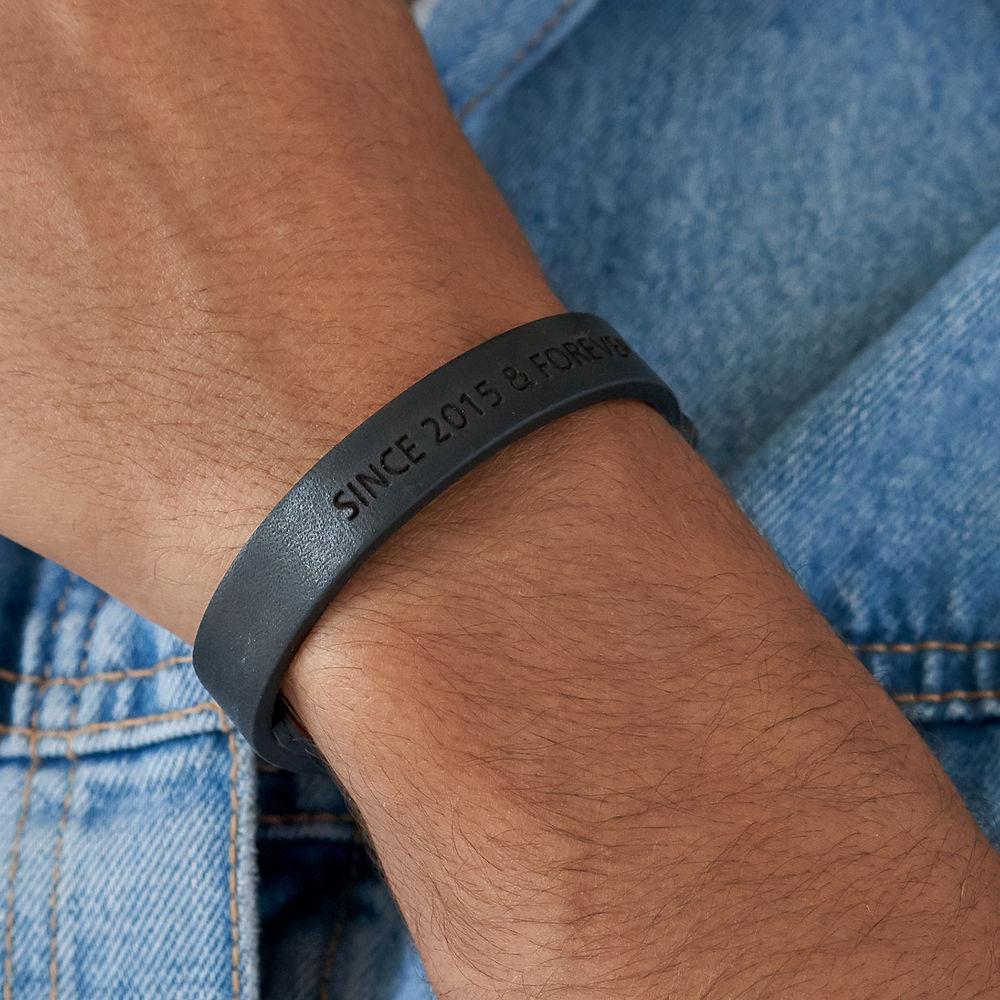 Men's Total Black Leather Name Bracelet - 3