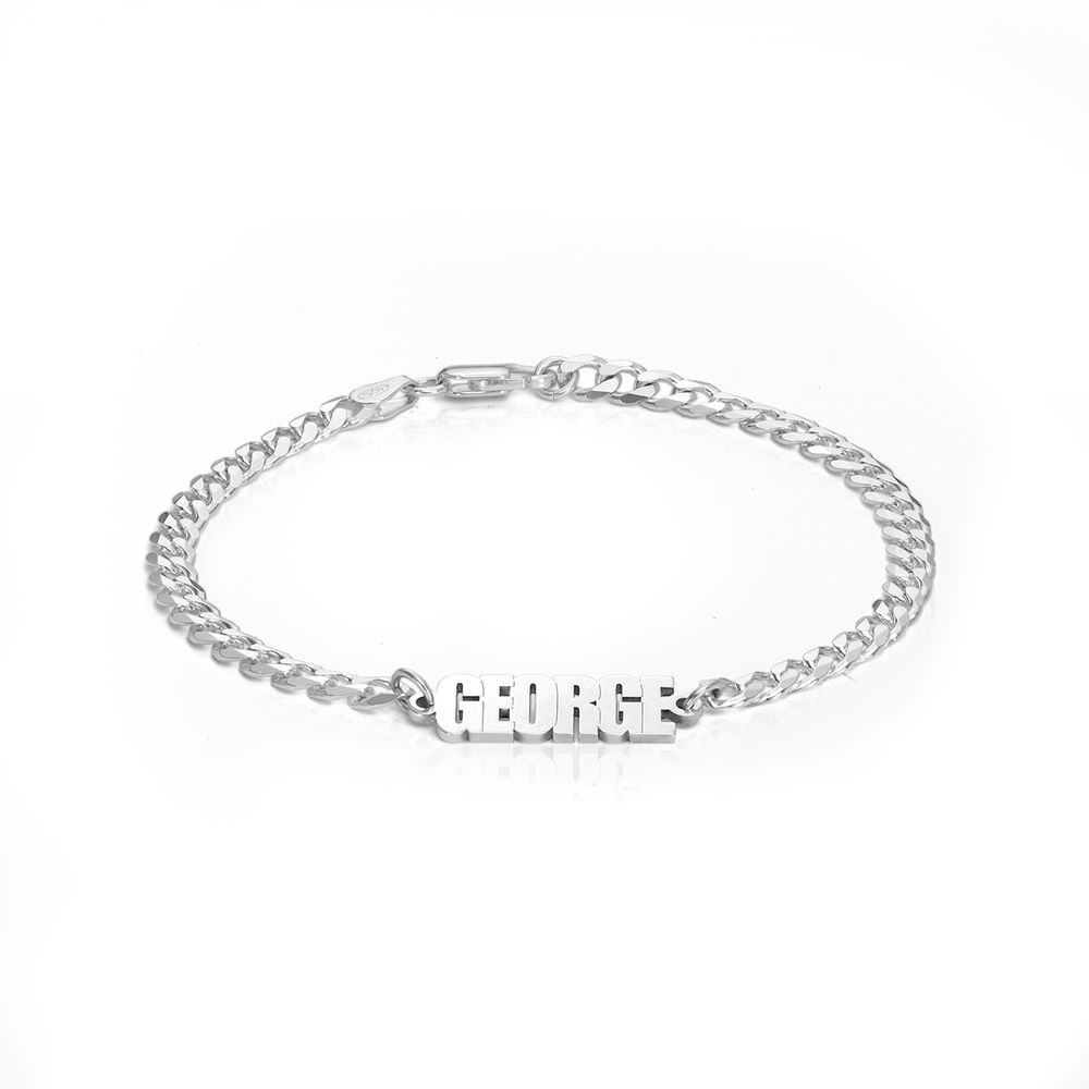 Thick Chain Name Bracelet in Sterling Siver