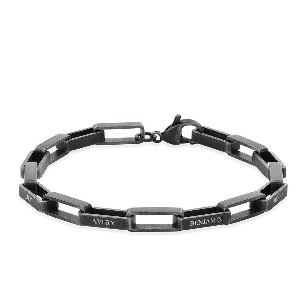 Custom Square Link Men Bracelet in Black Stainless Steel