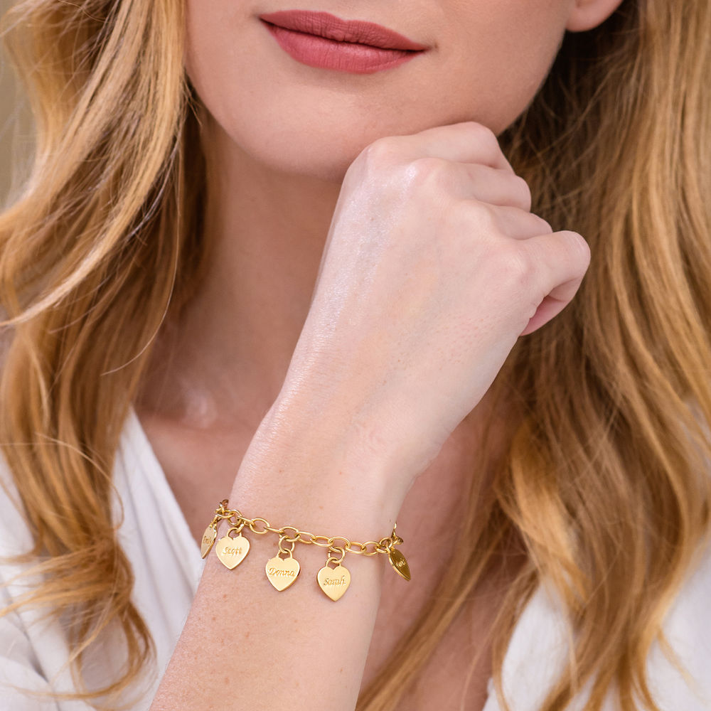 Link Bracelet with Heart Charms in Gold Vermeil - 2