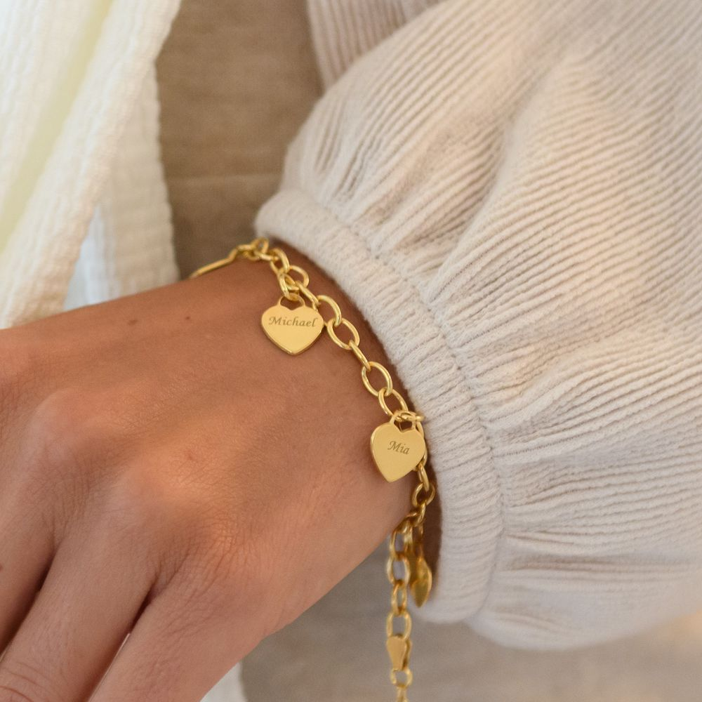 Link Bracelet with Heart Charms in Gold Vermeil - 3