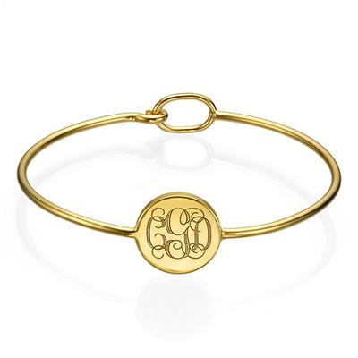 Gold Plated Round Monogram Bangle Bracelet