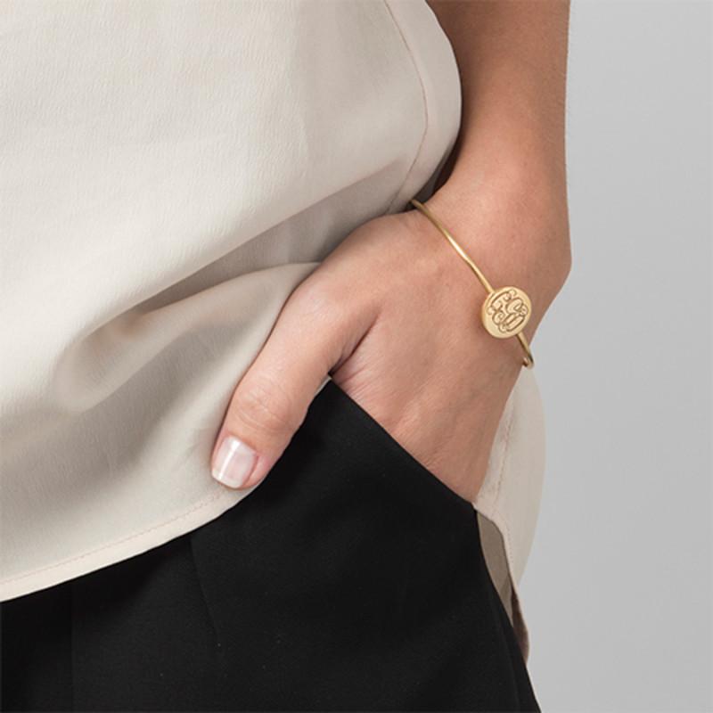 Gold Plated Round Monogram Bangle Bracelet - 2