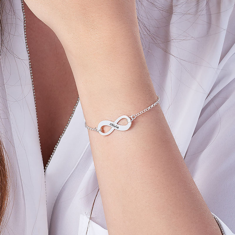 Sterling Silver Engraved Infinity Bracelet - 1 - 2 - 3