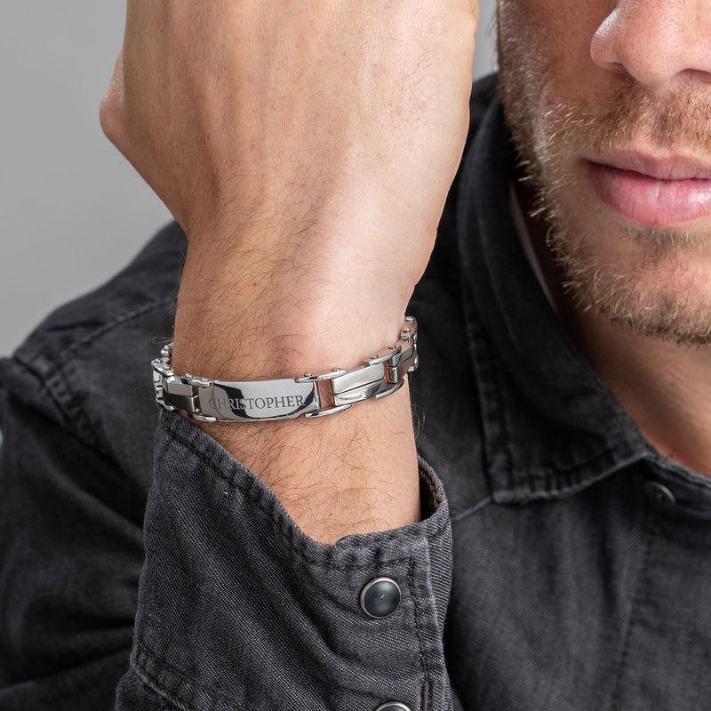 Men's Engraved Stainless Steel Bracelet - 3