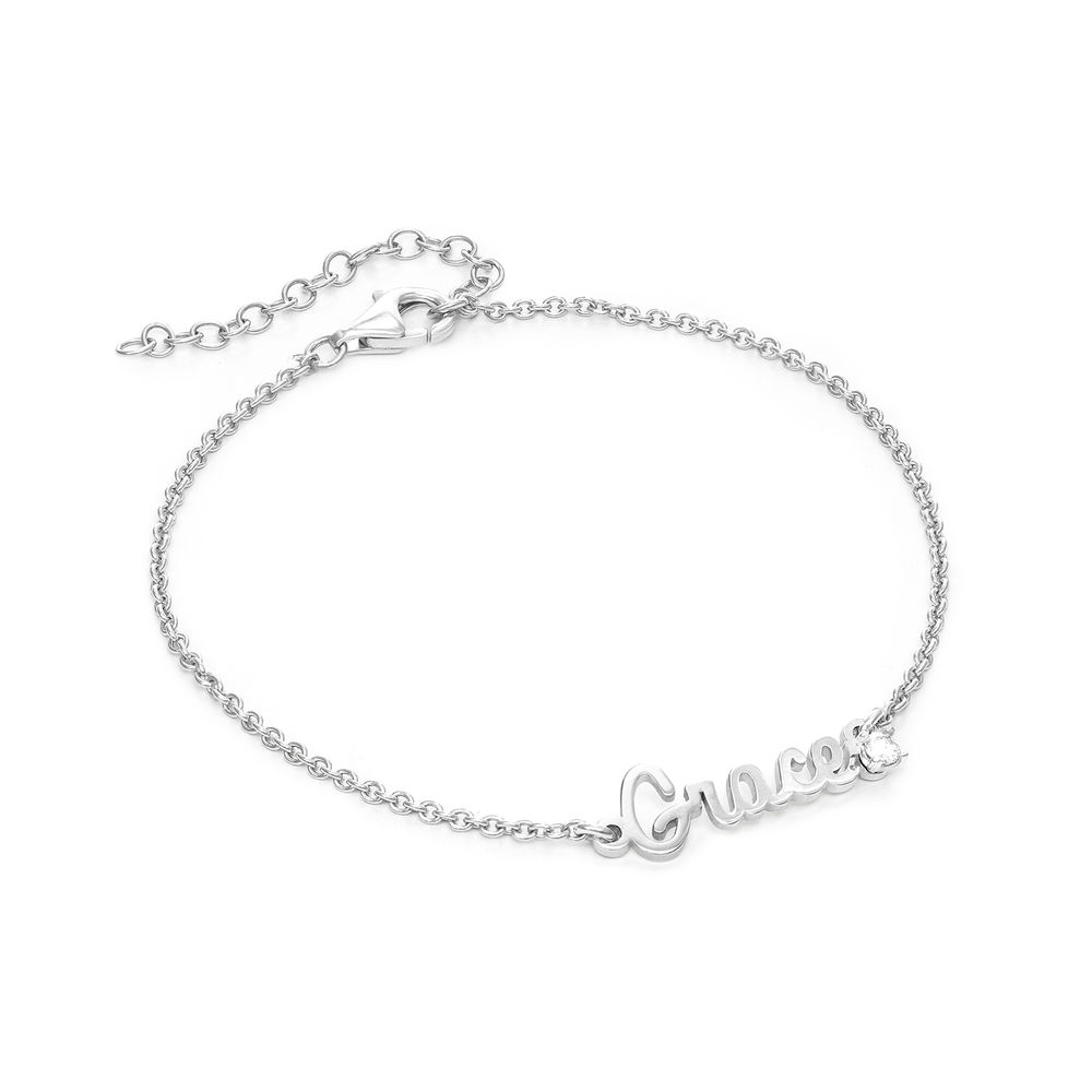 Cursive Name Bracelet in Sterling Silver with Diamond
