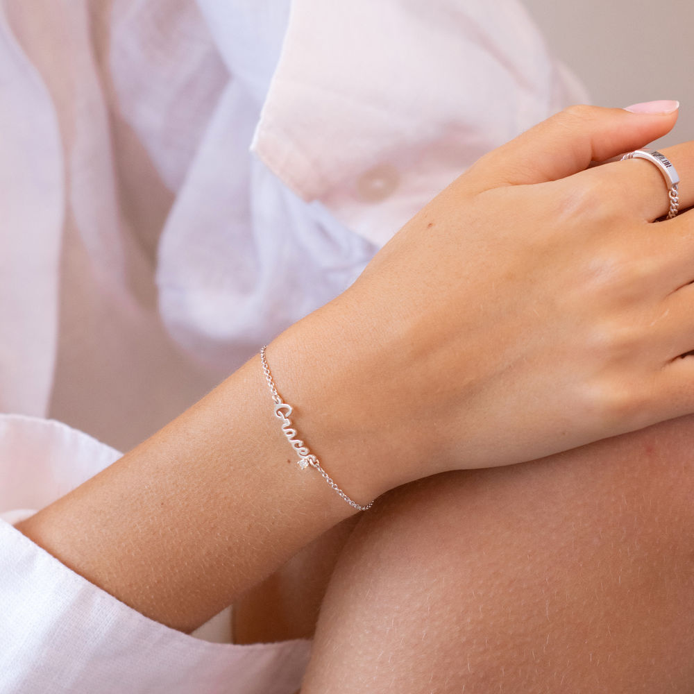 Cursive Name Bracelet in Sterling Silver with Diamond - 1