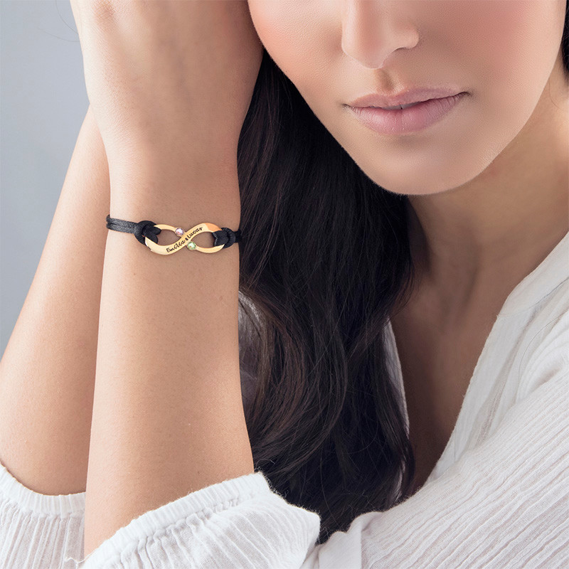 Couple's Infinity Bracelet with Birthstones - 18ct Gold Plating - 3