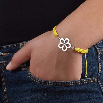 Flower Bracelet with Birthstone - 2
