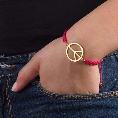 Peace Sign Cord Bracelet - 2
