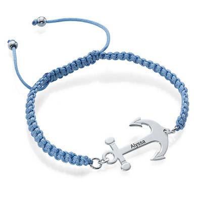 Anchor Bracelet with Engraving - Cord Style