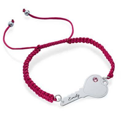 Personalized Key Bracelet on Cord