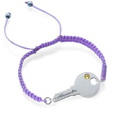 Personalized Key Bracelet on Cord - 1