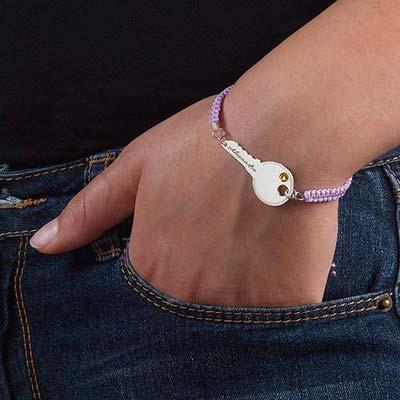 Personalized Key Bracelet on Cord - 2