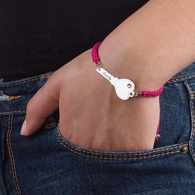Personalized Key Bracelet on Cord - 3