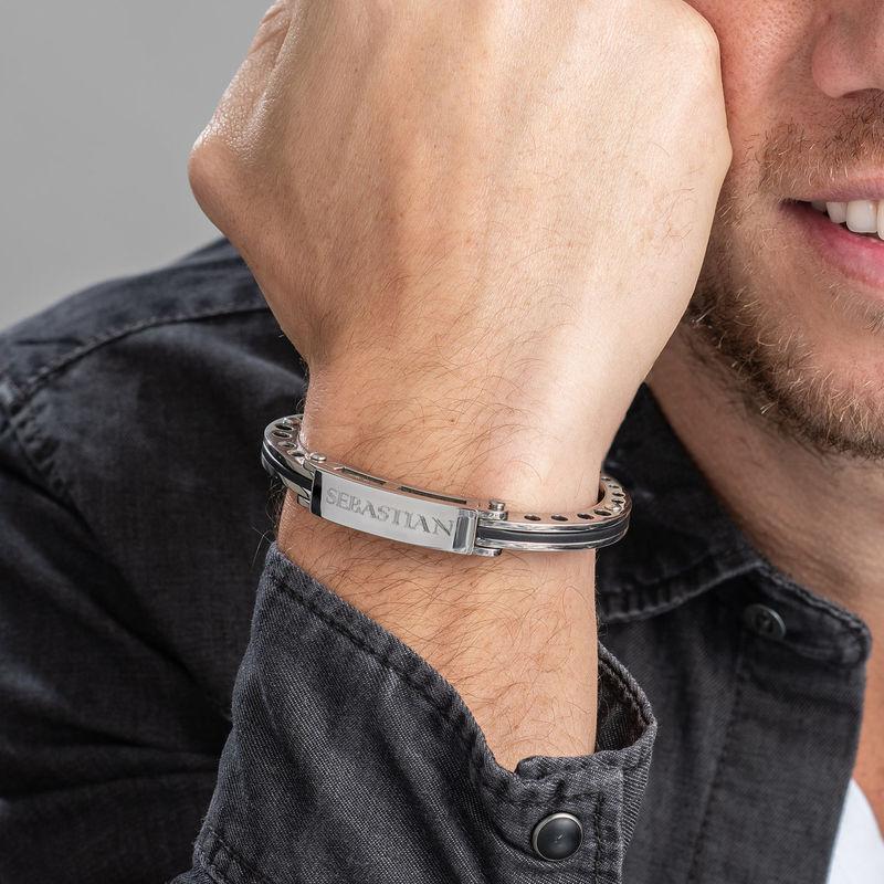 Stainless Steel Engraved Men's Bracelet - 1 - 2