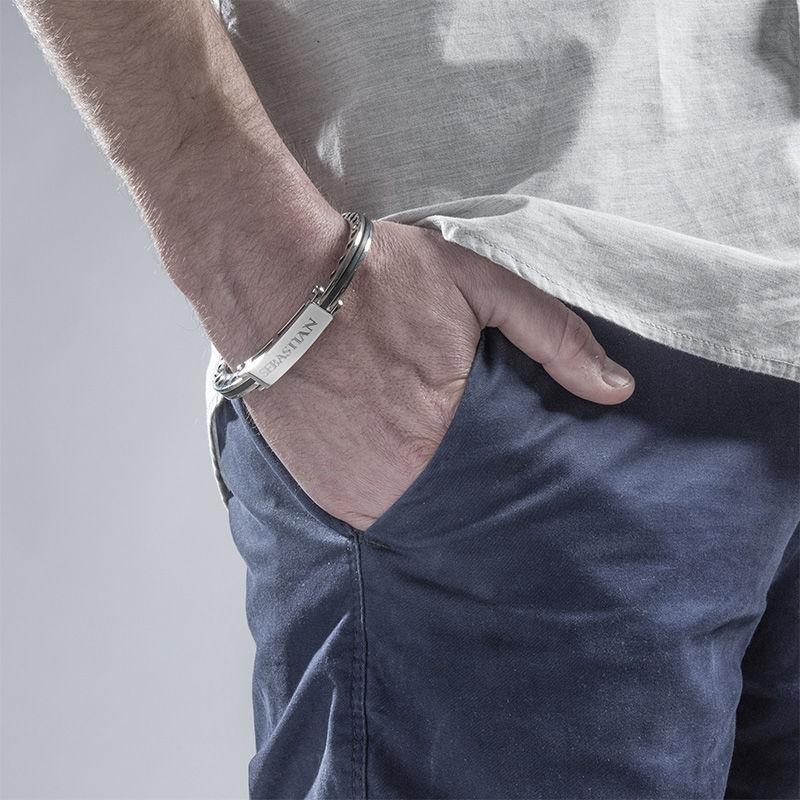 Stainless Steel Engraved Men's Bracelet - 3