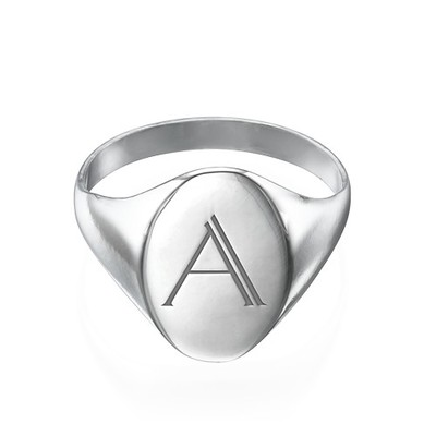Initial Signet Ring in Sterling Silver - 1