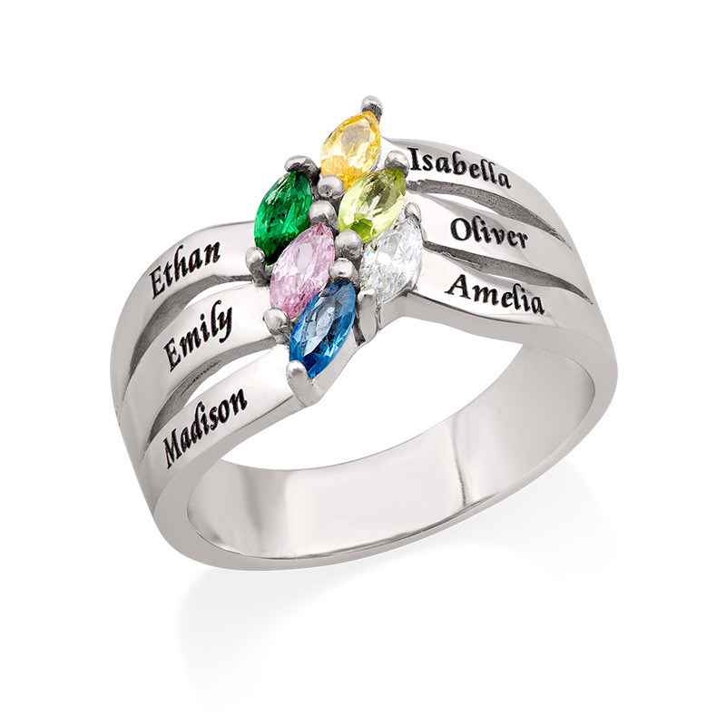 Six Stone Mothers Ring in Silver
