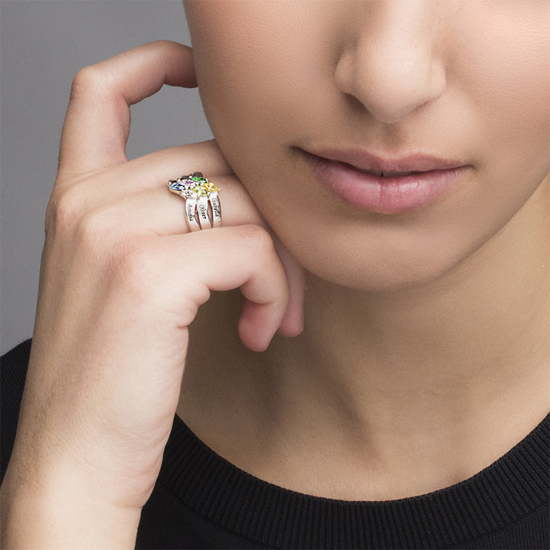 Six Stone Mothers Ring in Silver - 2