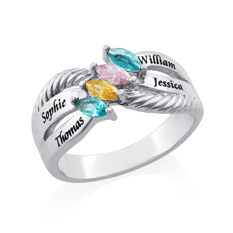 Four Stone Mothers Ring in Silver