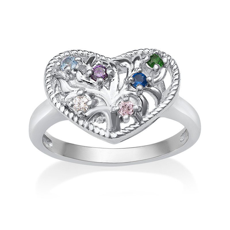 Heart Shaped Birthstone Ring - 1