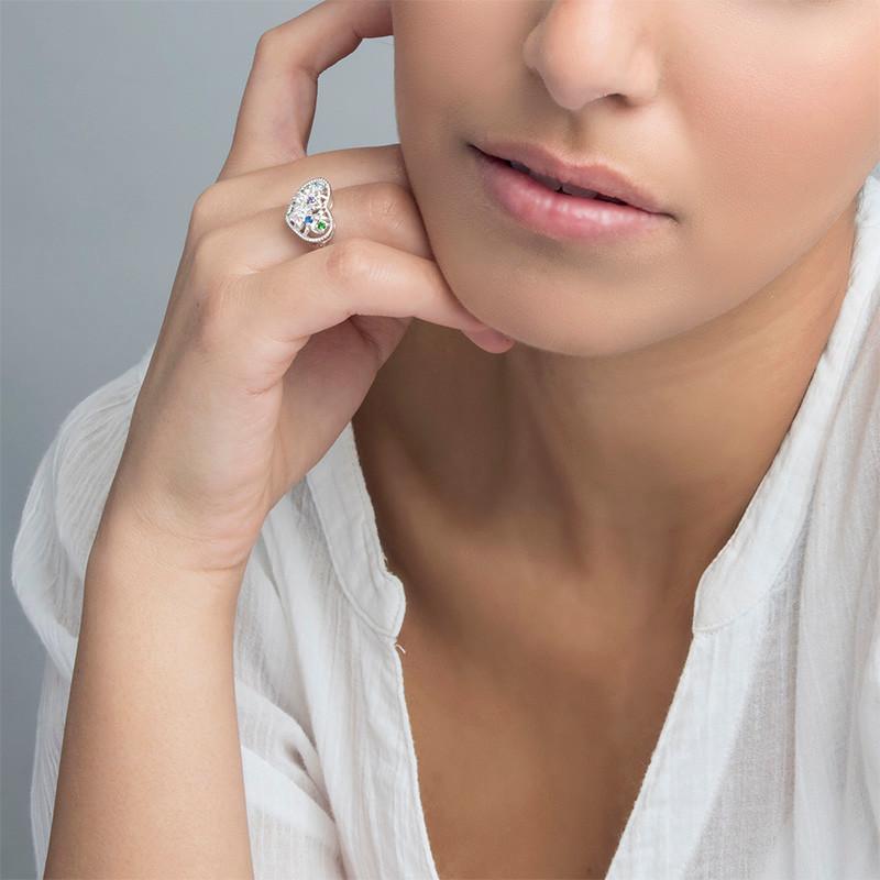 Heart Shaped Birthstone Ring - 2