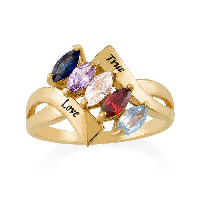 Birthstone Ring for mum with Gold Plating - 1