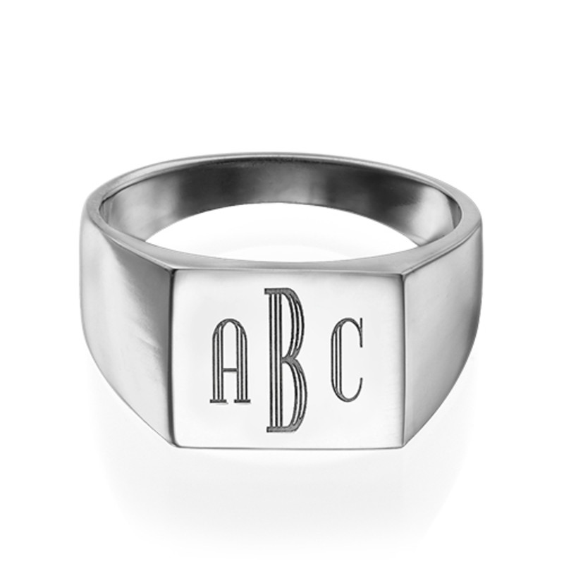 Men's Signet Ring in Silver - Monogram Engraving - 1