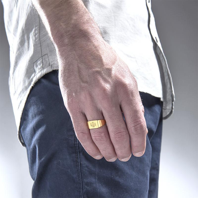 Men's Signet Ring with Gold Plating - Monogram Engraving - 2