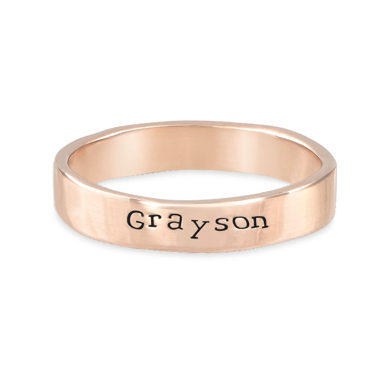 Engraved Name Ring - Hand Stamped Style with Rose Gold Plating - 1