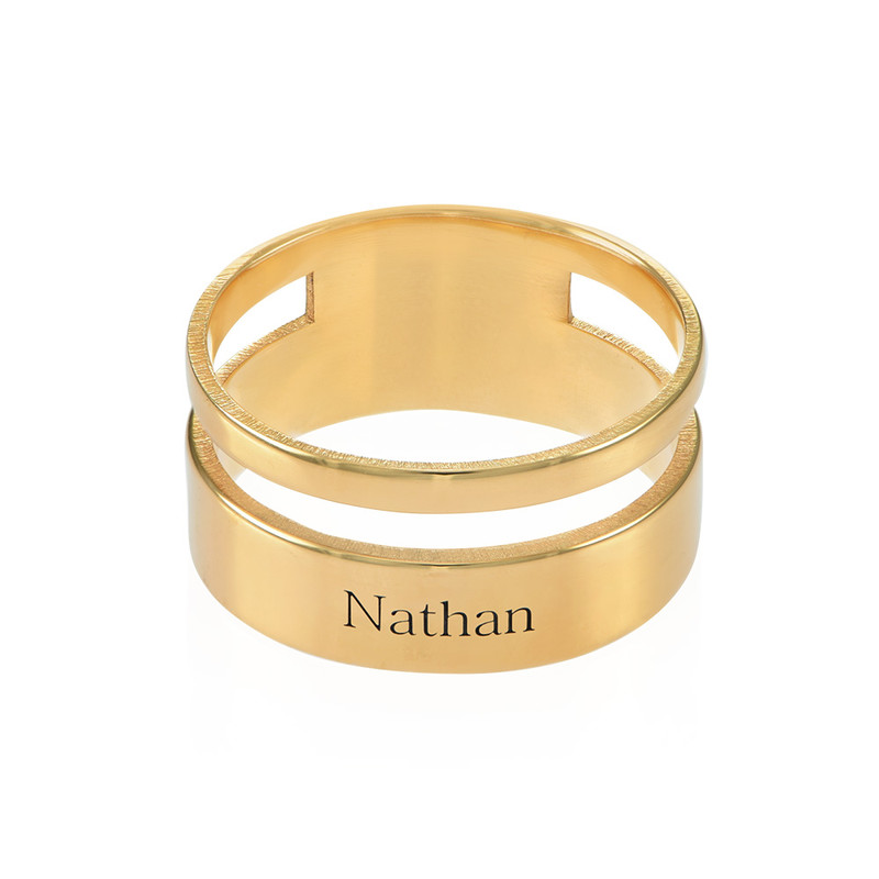 Asymmetrical Name Ring with Gold Plating - 1