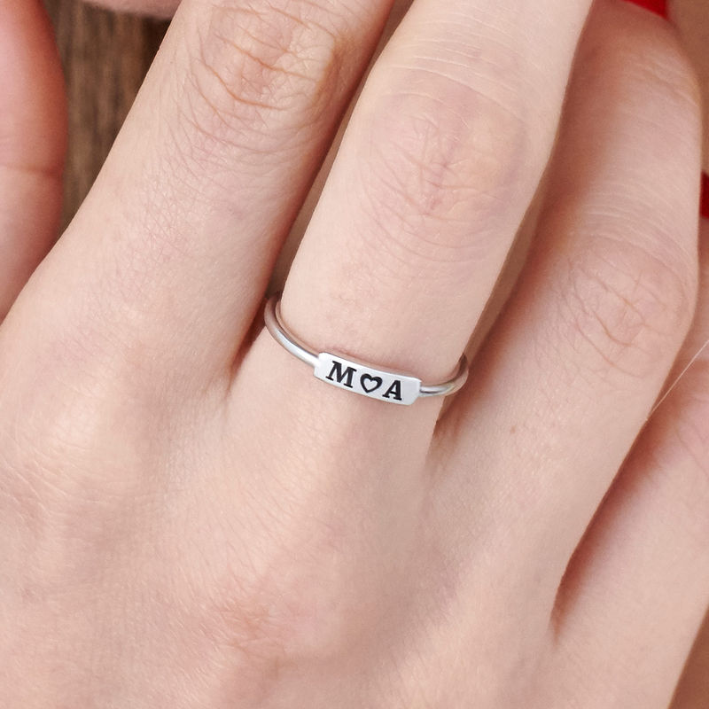 Stackable Nameplate Ring in Silver - 4