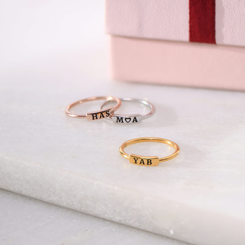 Stackable Nameplate Ring in Rose Gold Plating - 3