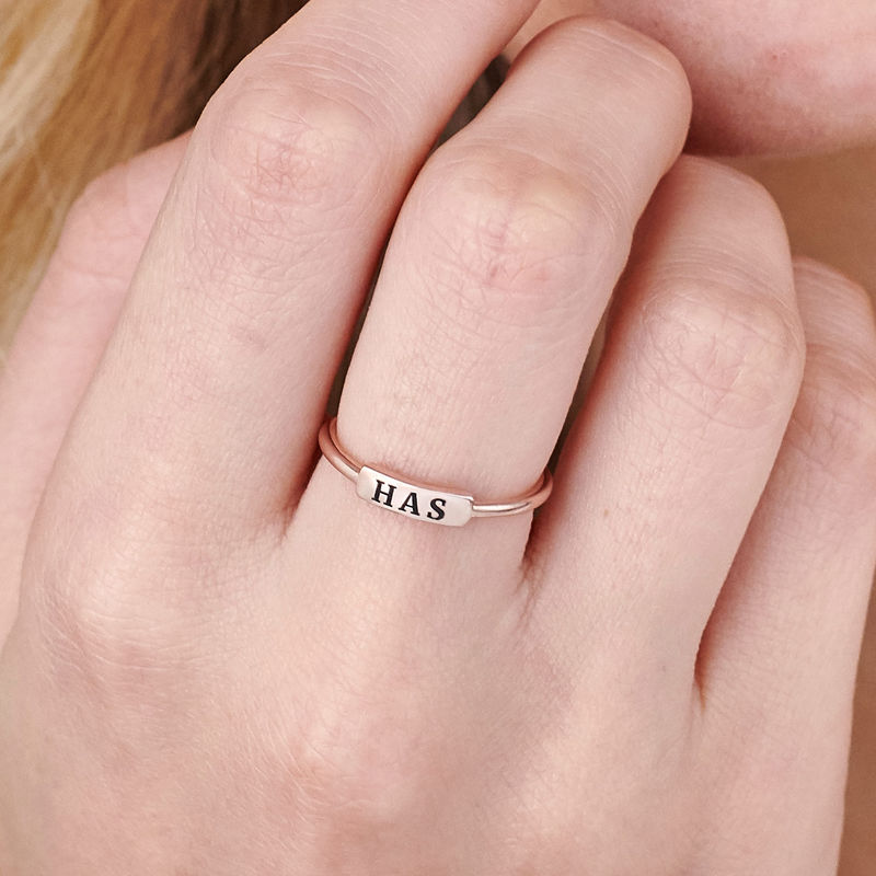 Stackable Nameplate Ring in Rose Gold Plating - 5