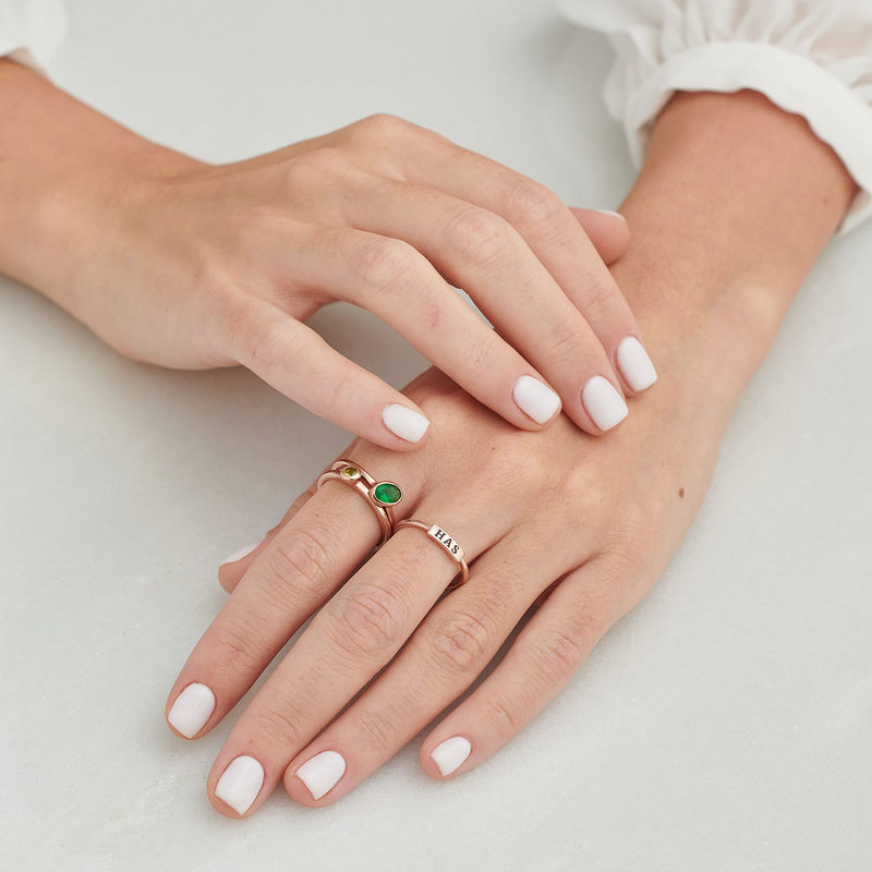 Stackable Nameplate Ring in Rose Gold Plating - 8