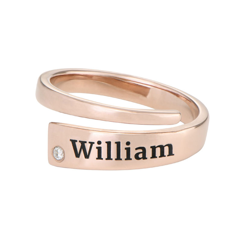 Custom Wrap Name Ring with Diamond in Rose Gold Plating - 1