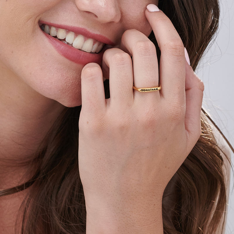 Stackable Rectangular Name Ring in Gold Plating - 5