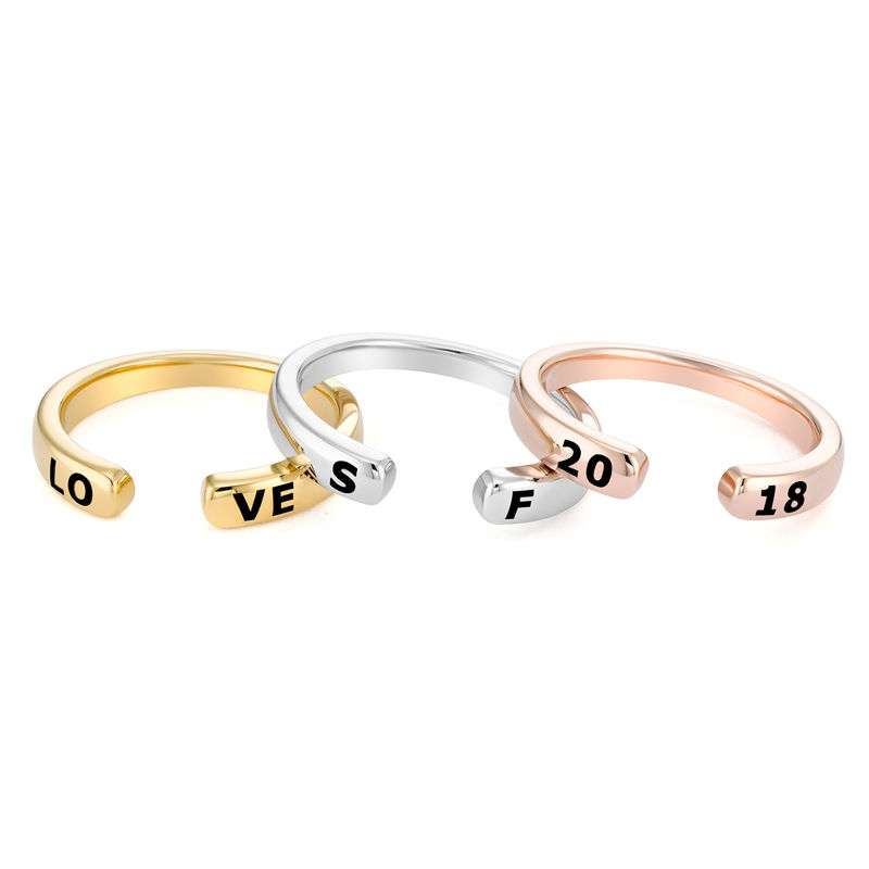 Custom Stacking Open Ring in Rose Gold Plating - 2