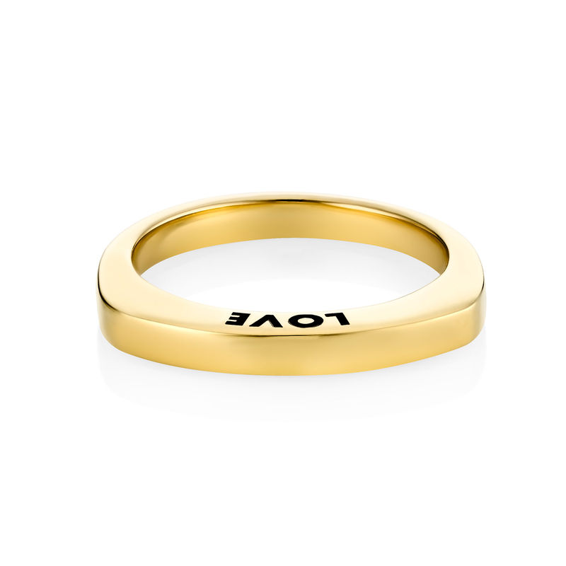 Engraved Square Ring Band in Gold Plating - 1