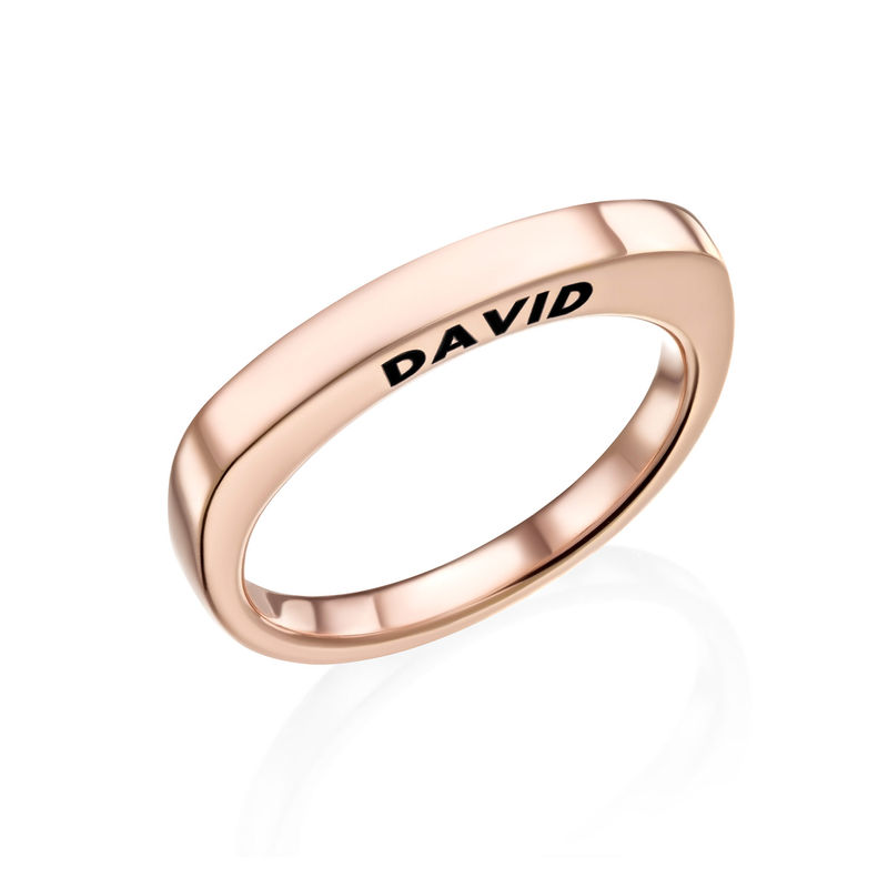 Engraved Square Ring Band in Rose Gold Plating