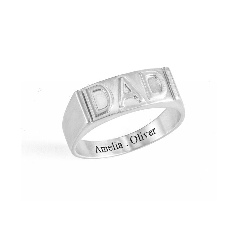 Dad Ring with Backside Engraving in Sterling Silver