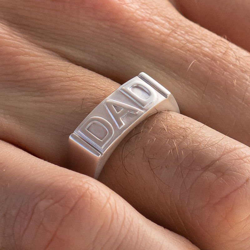Dad Ring with Backside Engraving in Sterling Silver - 3