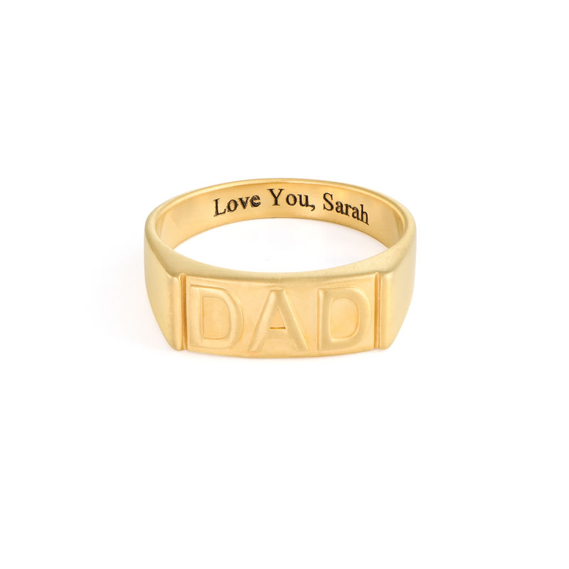 Dad Ring with Backside Engraving in 18ct Gold Plating - 1