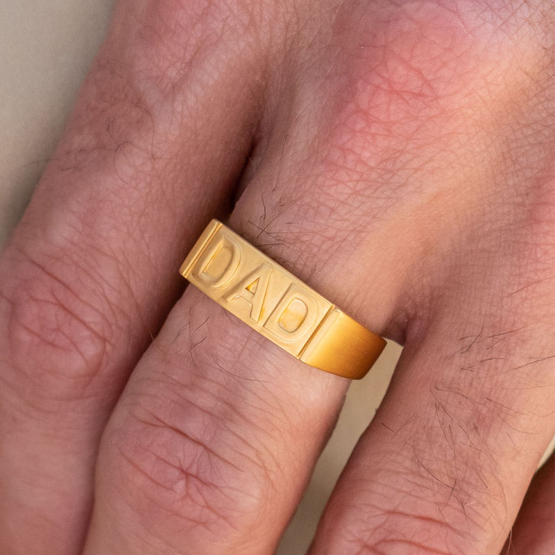Dad Ring with Backside Engraving in 18ct Gold Plating - 3