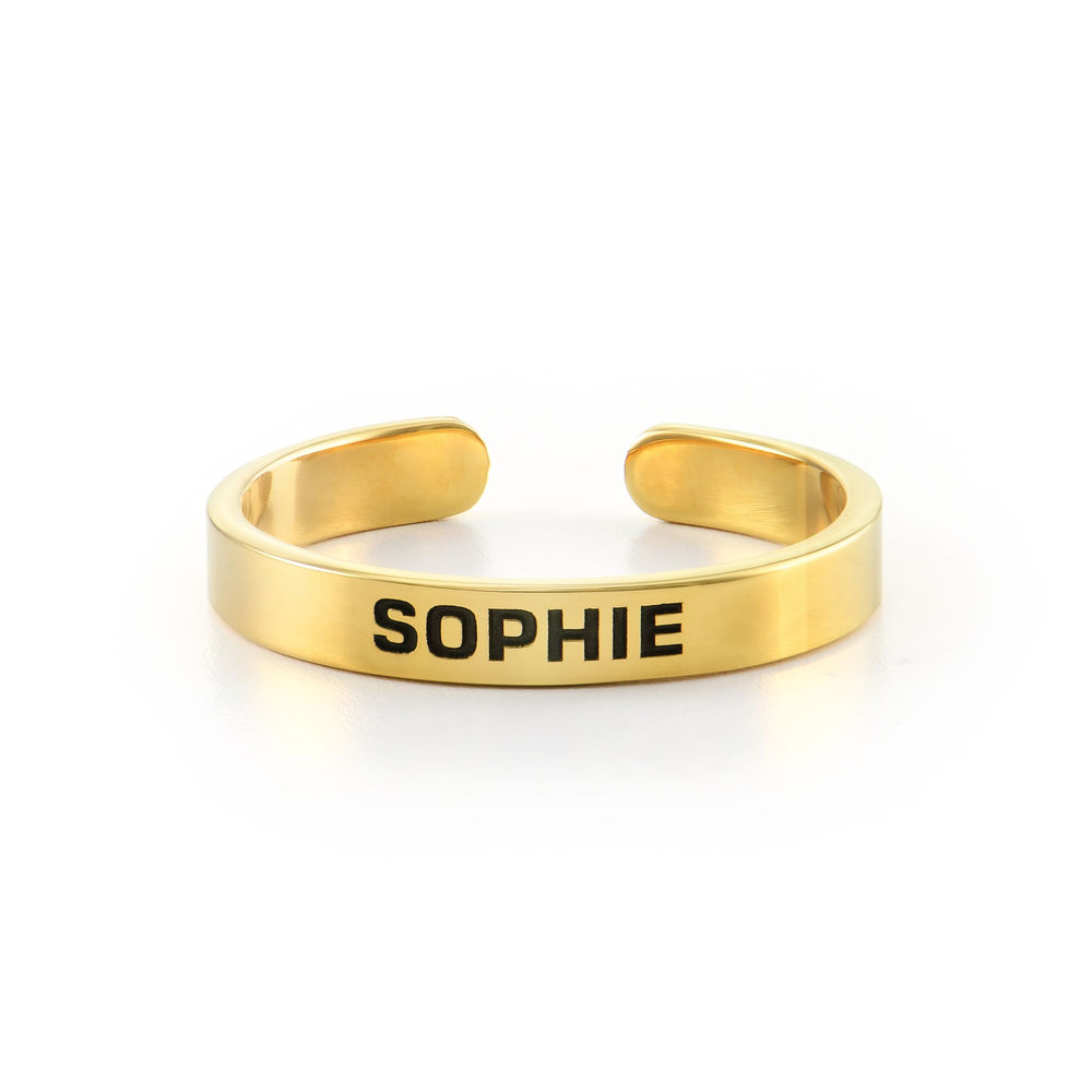 Open Adjustable Engraved Name Ring in Gold Plating - 1