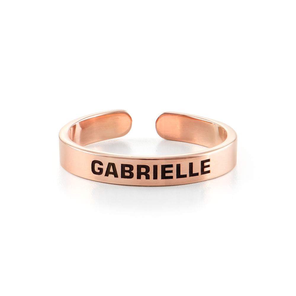 Open Adjustable Engraved Name Ring in Rose Gold Plating - 1